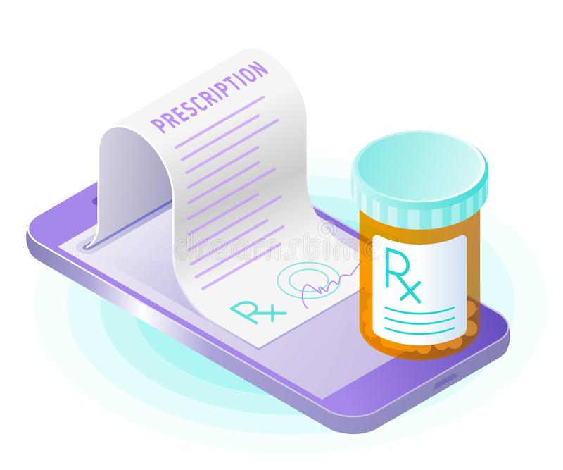 The smart phone, paper prescription from the screen, pill bottle royalty free illustration