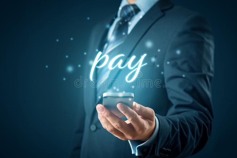Smart phone payment and fintech concept stock photo
