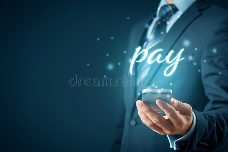 Smart phone payment concept. Smart phone app payment and fintech concept. Businessman with smart phone and text pay royalty free stock photos
