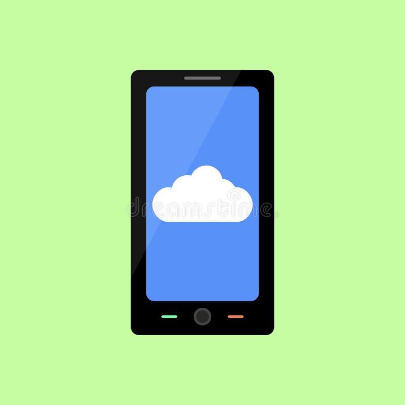 Smart Phone piano di stile con la nuvola royalty illustrazione gratis