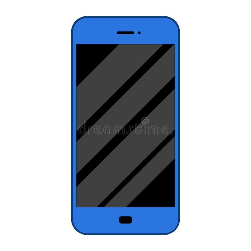 Smart Phone piano e blu Isolato su bianco Schermo riflettente illustrazione di stock