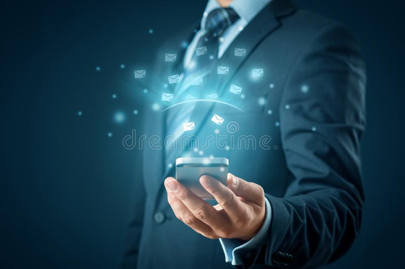 Smart phone protected against e-mail spam stock images