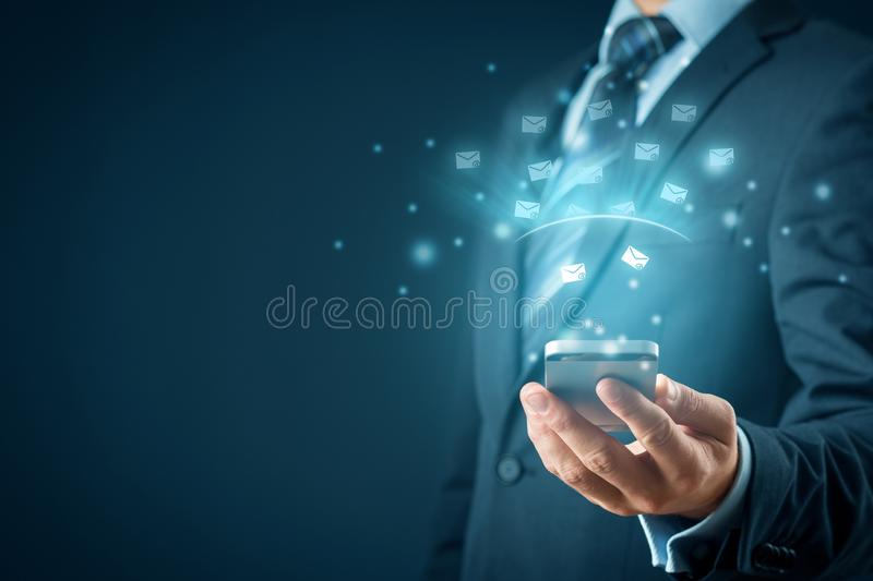Smart phone protected against e-mail spam royalty free stock photography