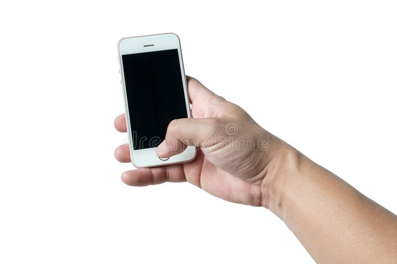 Smart phone in right hand finger isolated of idea concept royalty free stock photos