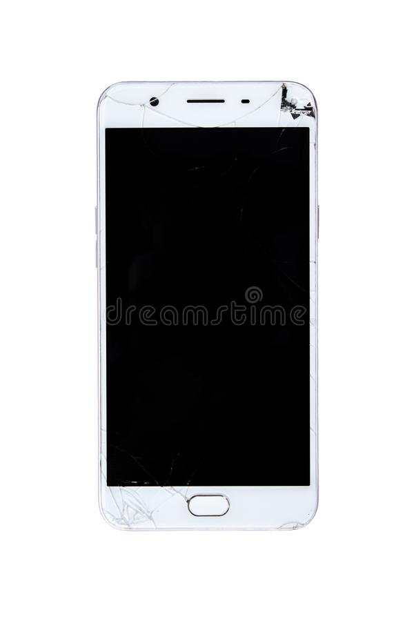 Smart Phone rotto con lo schermo incrinato immagini stock libere da diritti