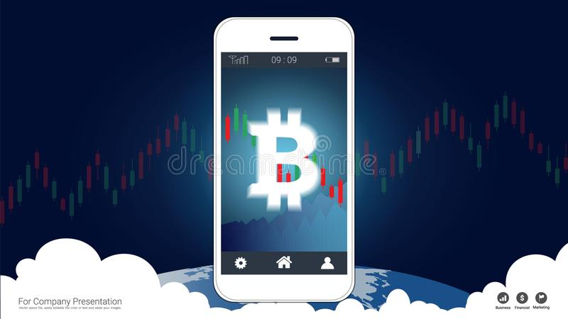Smart phone screen showing bitcoin and Candlestick financial graph charts climbing up. vector illustration