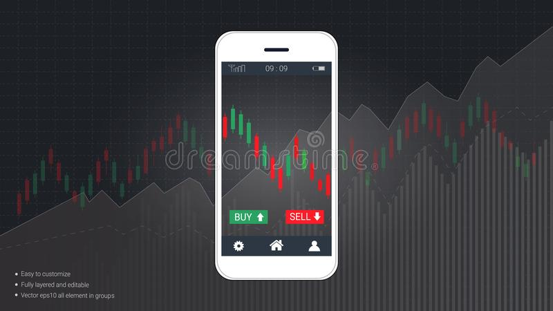Smart phone screen showing financial and candlestick graph charts climbing up presentations template. vector illustration
