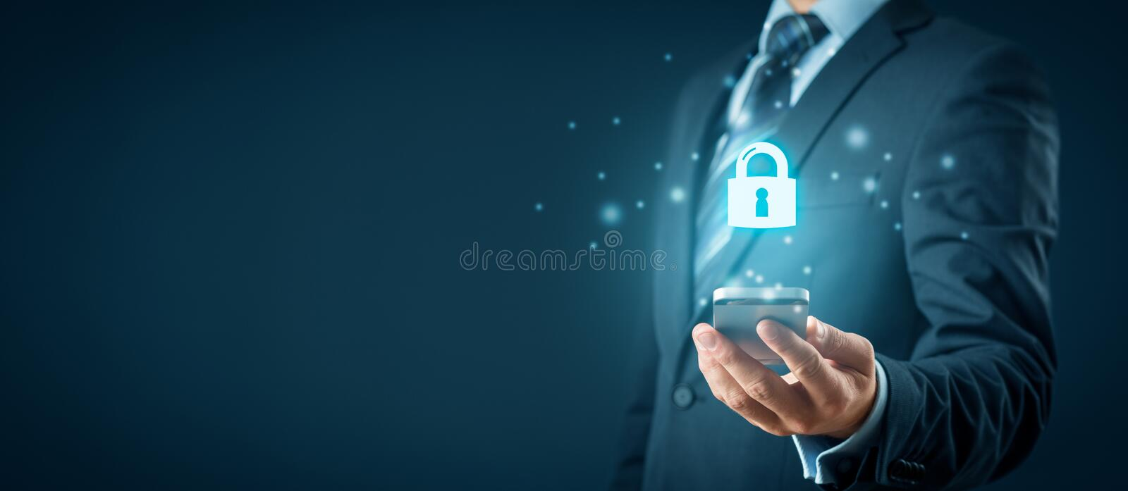 Smart phone security concept with padlock icon royalty free stock image