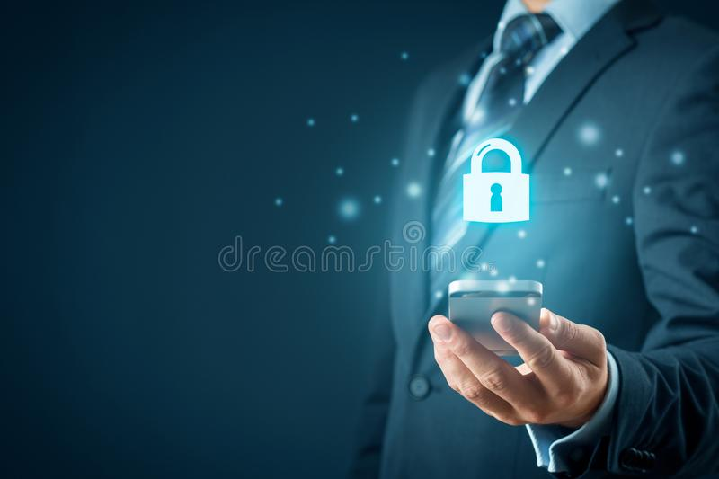 Smart phone security concept with padlock icon stock images