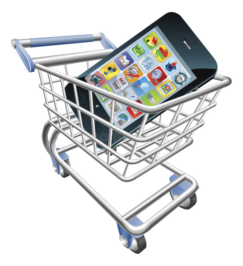 Smart phone shopping cart concept. An illustration of a shopping cart trolley with smart phone mobile phone stock illustration