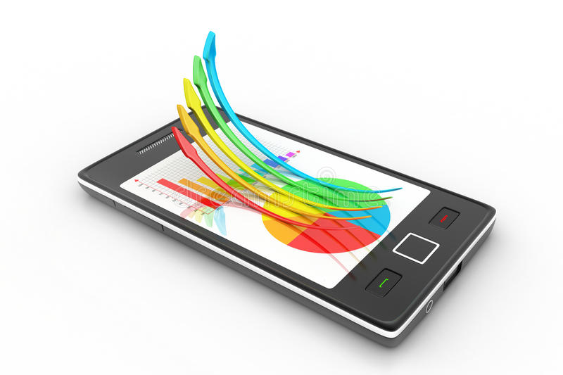 Download Smart Phone Showing A Growth Graph Stock Illustration - Image: 37485911