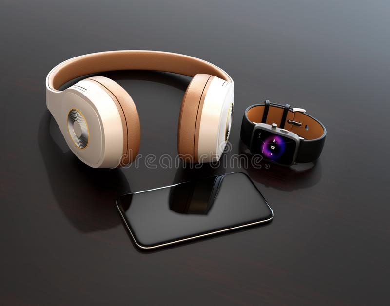 Smart phone, smart watch and wireless headphone on dark glossy table. 3D rendering image stock images