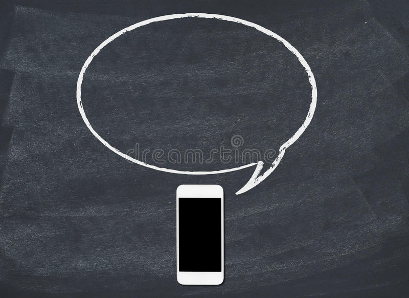 Smart phone with speech bubble stock images