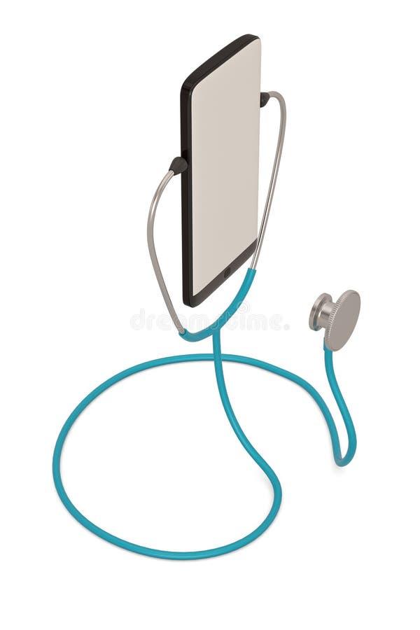 Smart phone  with stethoscope isolated on white background. 3D illustration. Smart phone with stethoscope isolated on white background. 3D illustration stock illustration
