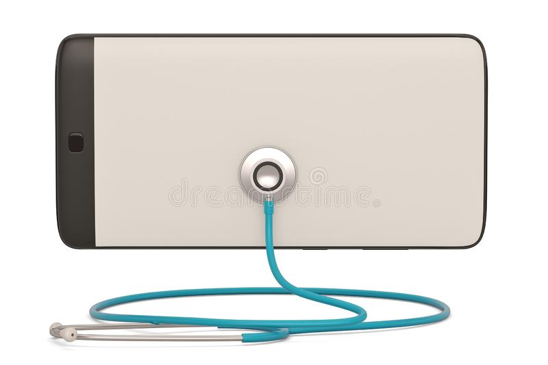 Smart phone  with stethoscope isolated on white background. 3D illustration. Smart phone with stethoscope isolated on white background. 3D illustration vector illustration
