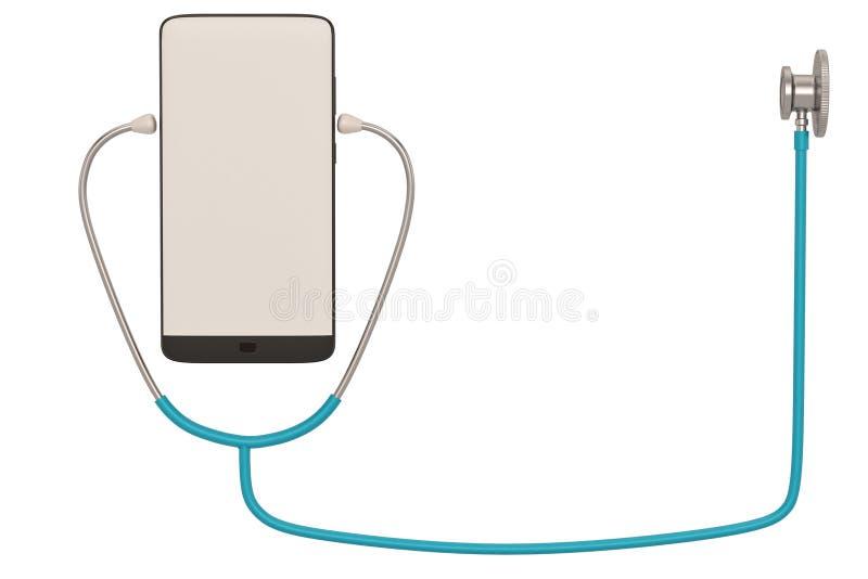Smart phone  with stethoscope isolated on white background. 3D illustration. Smart phone with stethoscope isolated on white background. 3D illustration royalty free illustration