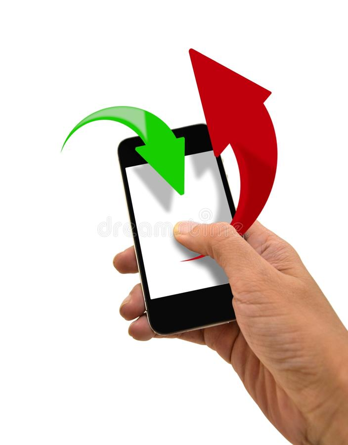 Download Smart Phone Upload And Download Data Stock Illustration - Illustration: 34617456