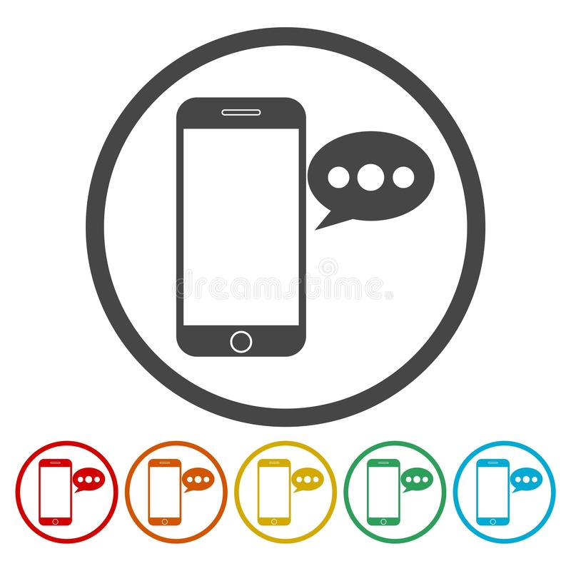 Smart phone, Voice message icons set. Vector icon royalty free illustration