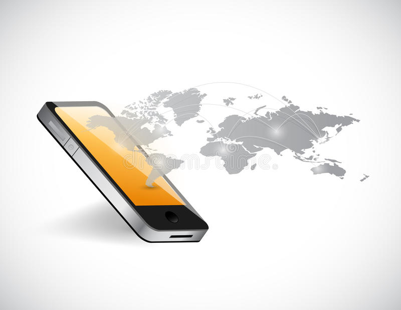 Smart phone and world map network illustration royalty free illustration