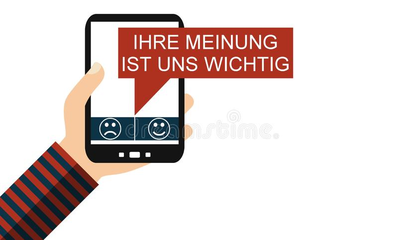 Smart Phone: Your opinion counts german - Flat Design. Hand holding isolated Smartphone: Your Opinion counts in german language - Flat Design vector illustration