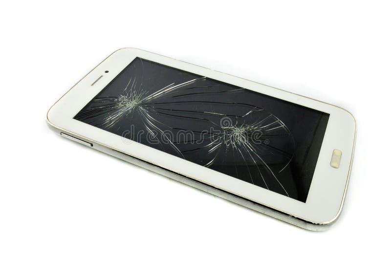 Smart Phone broken. A Broken Tablet Smart Phoneon Broken white background stock photos