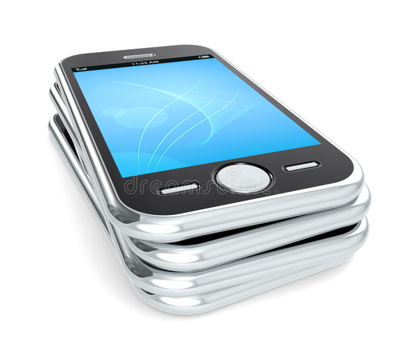 Smart Phones. Pile of 4 Smart Phones. Blue Screen vector illustration