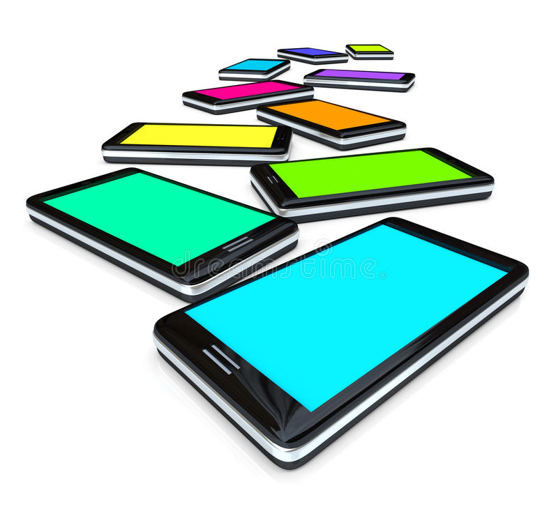 Smart Phones - Array of Colored Screens. Many smart phones side by side with screens of different colors royalty free illustration