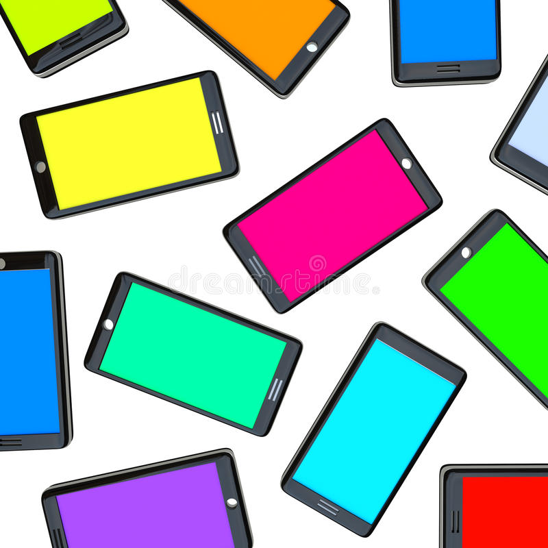 Smart Phones - Array of Colored Screens. Many smart phones side by side with screens of different colors vector illustration