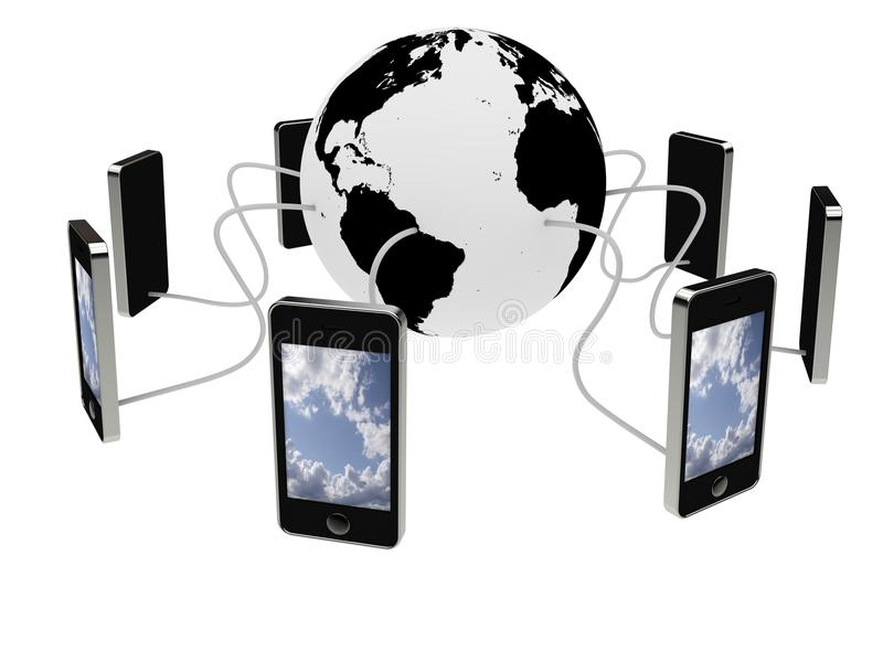 Smart phones connected stock images