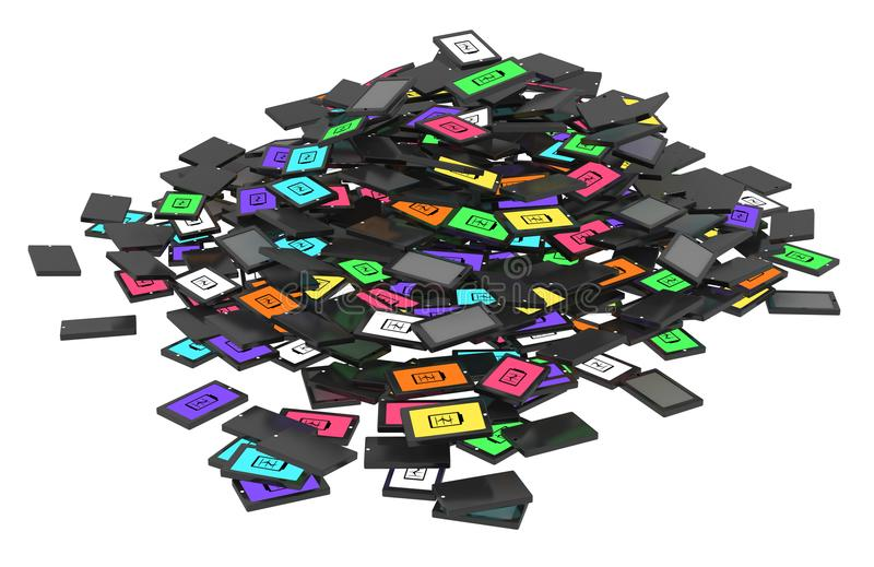 Smartphones Pile. Smart phones discarded cartoon pile, 3d illustration, horizontal, over white, isolated vector illustration