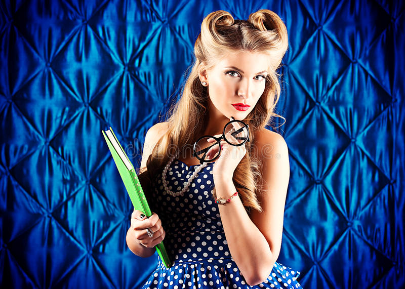 Smart pin-up girl royalty free stock image