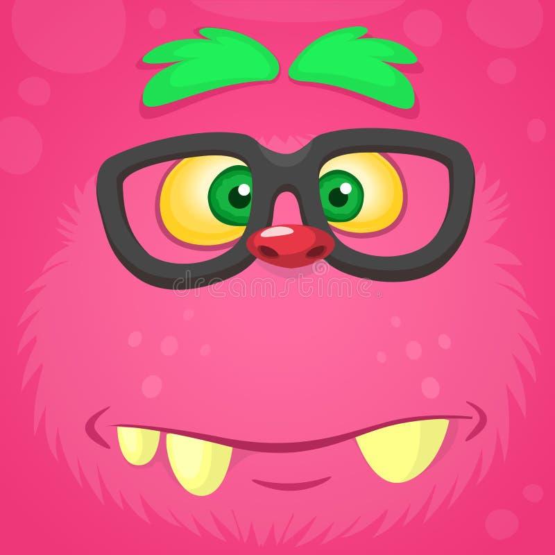 Smart pink monster face. Vector monster square avatar. Funny monster. Smart pink monster face. Vector monster square avatar. Funny monster royalty free illustration