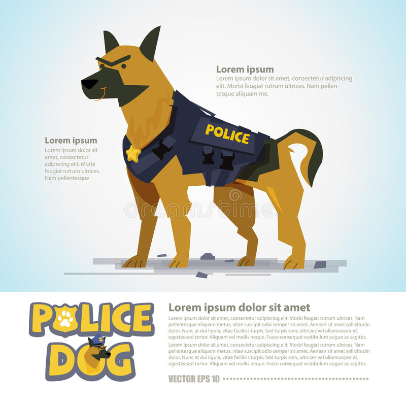 Smart police dog. character design come with typographic - vect stock illustration