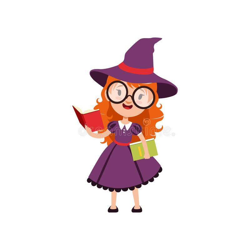 Smart red-haired girl witch reading books and wearing purple dress, hat and glasses. Smiling kid character in Halloween. Costume. Trick or Treat. Vector flat vector illustration