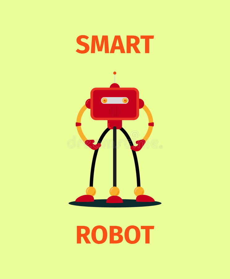 Affiche de robot rouge intelligent libre de droits