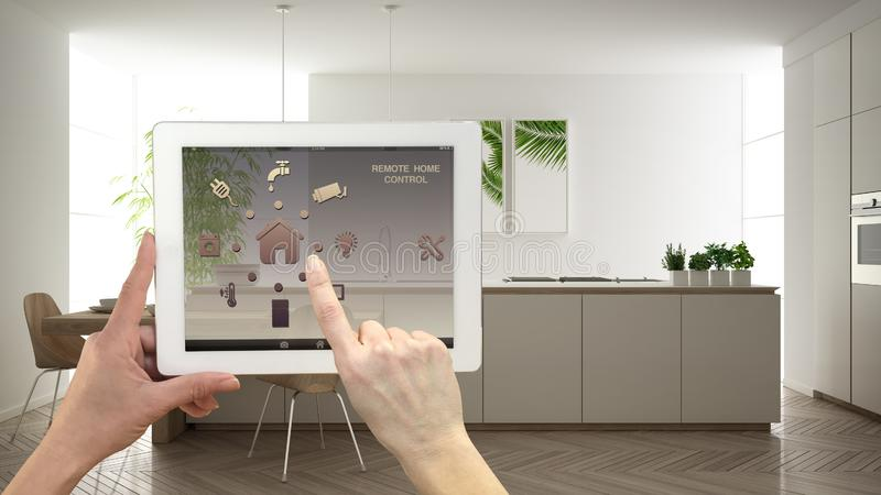 Smart remote home control system on a digital tablet. Device with app icons. Minimalist modern bright kitchen in the background, royalty free illustration