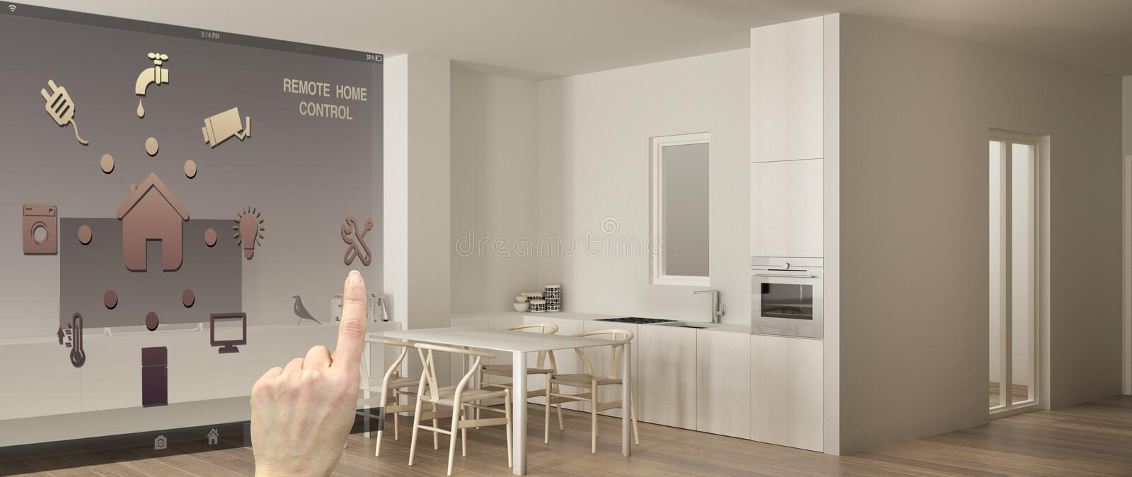 Smart remote home control system on a digital tablet. Device with app icons. Modern minimalist white kitchen with dining table in royalty free illustration
