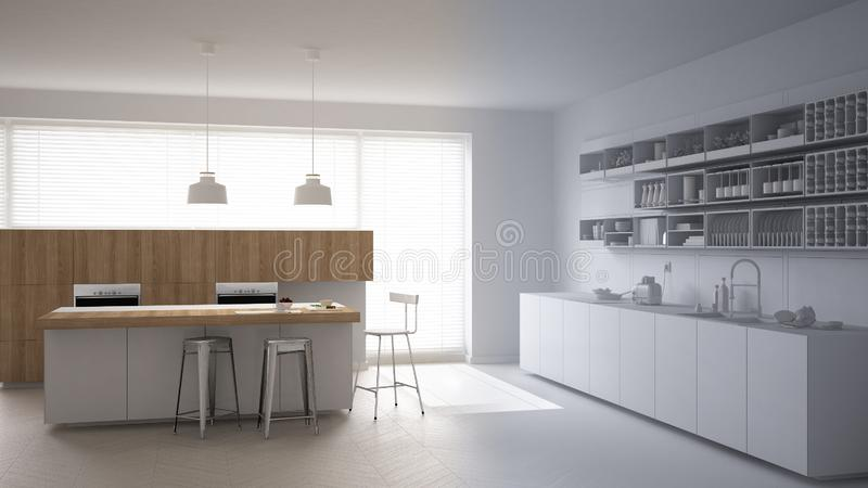 Smart remote home control system on a digital tablet. Device with app icons. Wooden modern white and wooden kitchen in the backgro. Und, architecture interior stock illustration