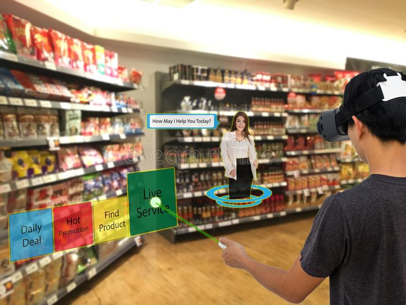 Smart retail with augmented and virtual reality technology concept, Customer use ar and vr glasses to search a daily deal stock image