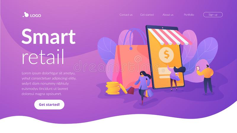 Smart retail in smart city landing page template. Smart retail, retail mobility solutions, IoT and smart city concept. Website homepage interface UI template stock illustration