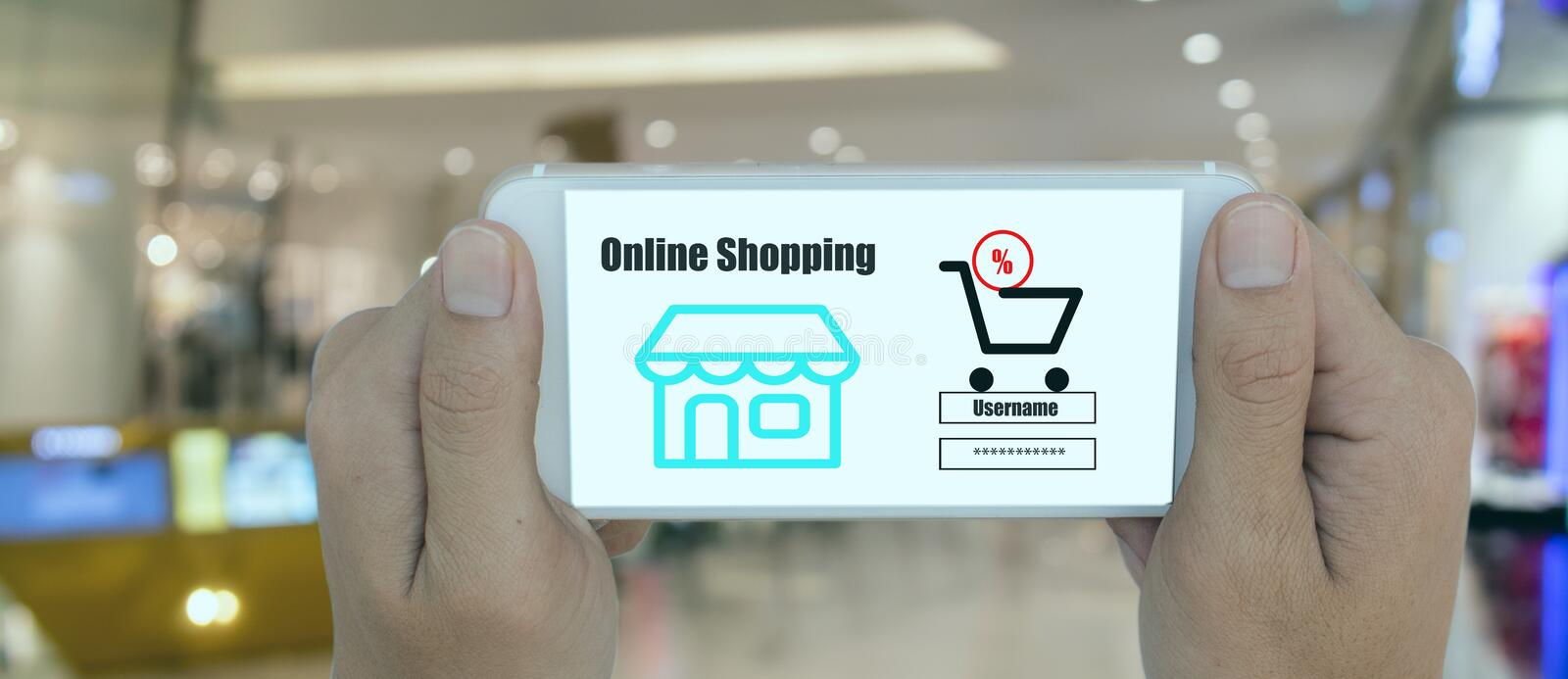 Smart retail technology with online shopping concept, customer use password try to log in web store in the retail to receive infor royalty free stock photo