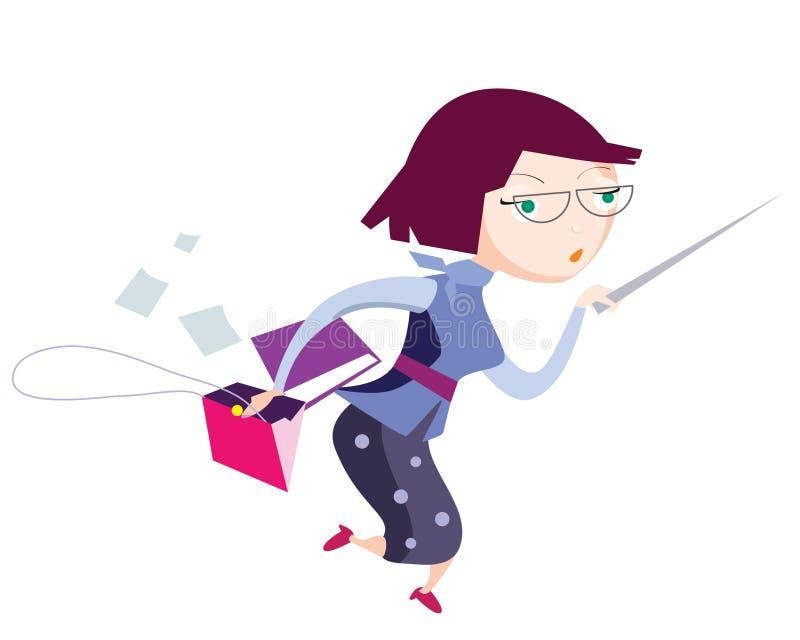 Smart rinnande skolalärare med att peka pinnen, mapplimbindningen och den öppnade handväskan royaltyfri illustrationer