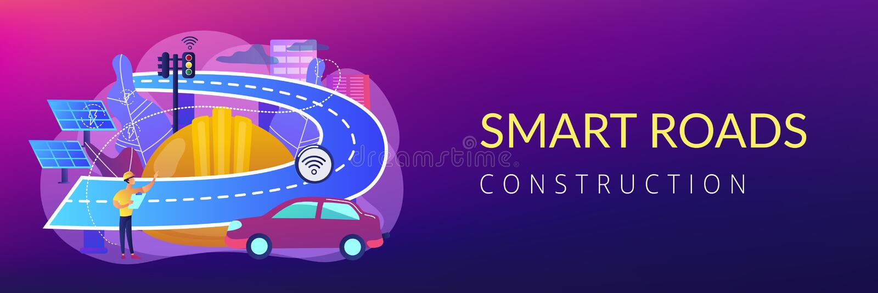 Smart roads construction concept banner header. royalty free illustration