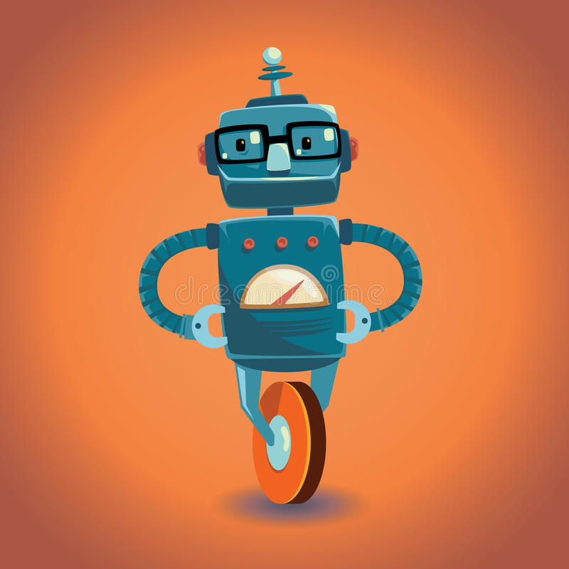 Smart robot with glasses on wheel. Vector illustration. royalty free illustration