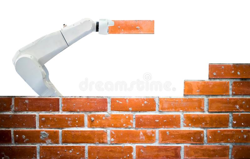 Smart robot industry 4.0 arm brick building construction human force remote. Wifi white background royalty free stock photo