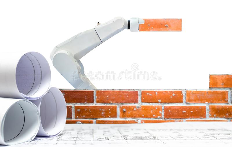 Smart robot industry 4.0 arm brick building construction plan royalty free stock photography