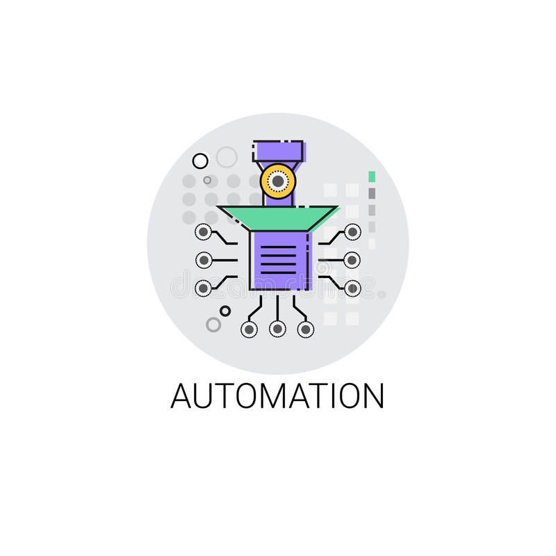 Smart Robot Machinery Industrial Automation Industry Production Icon royalty free illustration