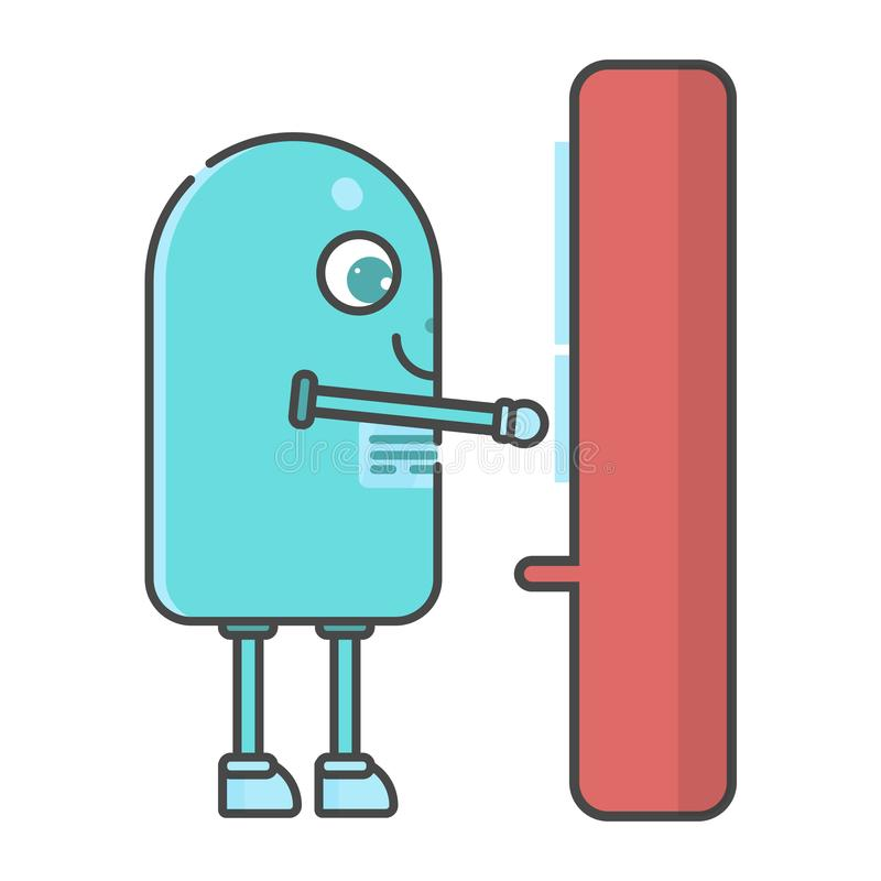 Smart robot med automatrestaurangen vektor illustrationer