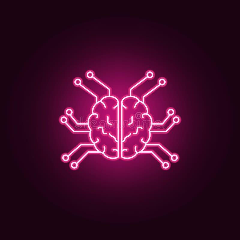 Smart robotic hjärnsymbol Beståndsdelar av konstgjort i neonstilsymboler Enkel symbol för websites, rengöringsdukdesign, mobil ap royaltyfri illustrationer