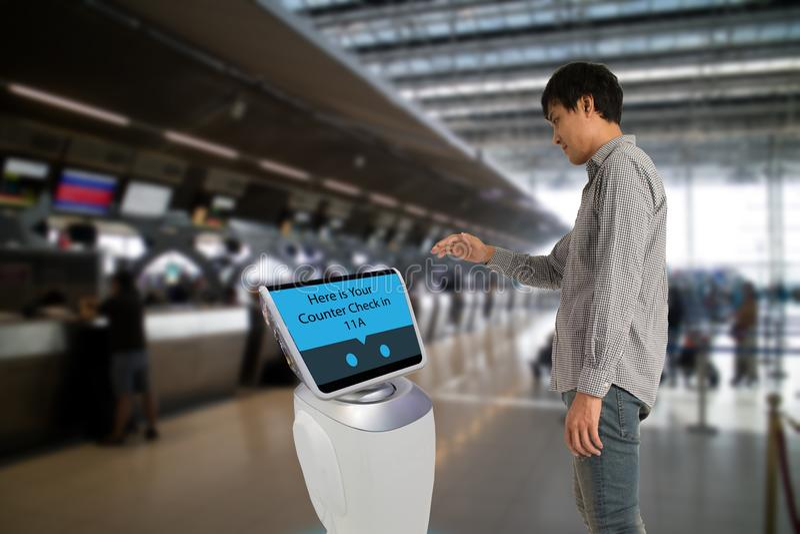 Smart robotic technology concept, The passenger follow a service stock photos